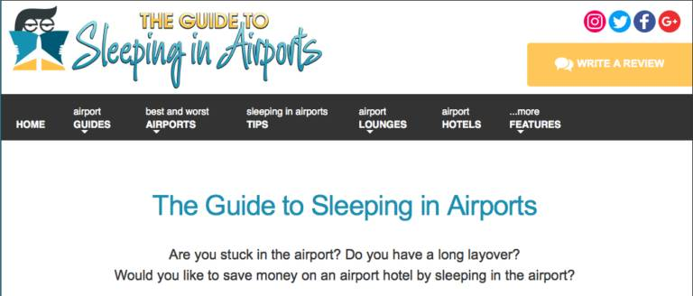 特別的 睡機場技巧 | Sleepinginairports.net 的使用教學