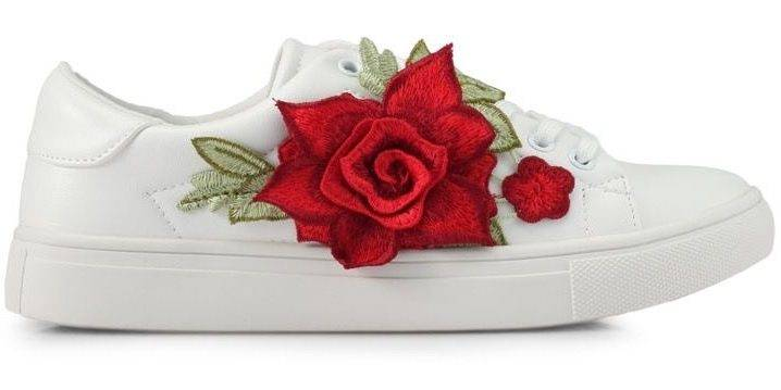 Addicts Anonymous Scarlett Flower Applique Sneakers