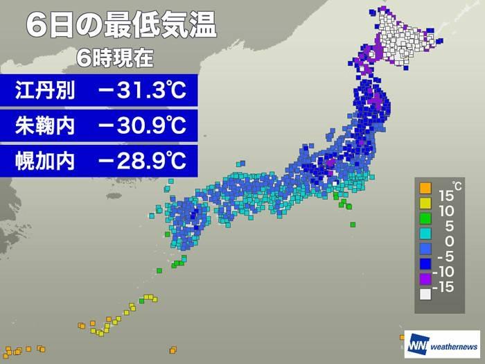 北海道江丹別-31.3℃
