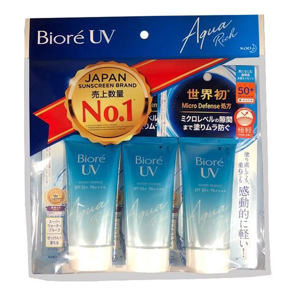 第4位|Biore UV Aqua Rich Watery Essence 含水防曬保濕水凝乳 SPF50+ 3個組 售2,394日圓(約HK3)