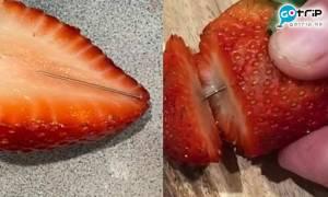 澳洲士多啤梨再藏針 超市購入進食刺傷舌頭再引恐慌