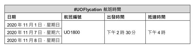 UOFlycation航班時間(圖片來源:HKExpress)