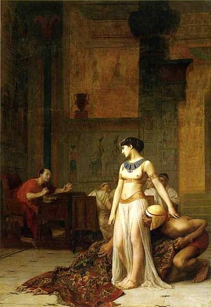 1866年由尚-李奧·傑洛姆Jean-Léon Gérôme所繪的《克莉奧佩特拉七世與凱撒Cleopatra and Caesar 》(圖片來源:維基百科)