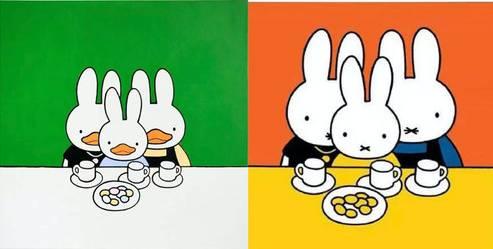 Miffy與鴨兔比對圖(圖片來源:柠檬木聚糖@微博)