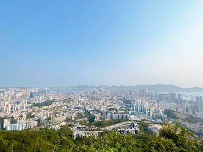 由鷹巢山登上畢架山,俯瞰九龍半島景色