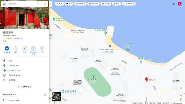 長洲行山 路線地圖