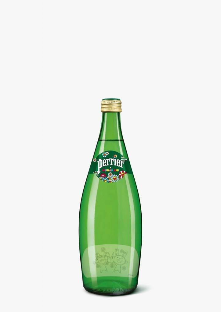 經典玻璃瓶限定版村上隆聯乘Perrier氣泡水,除了有經典村上隆花花圖案,亦印有村上隆Kaikai Kiki圖案,繽紛感大增。(圖片來源:新城市廣場)