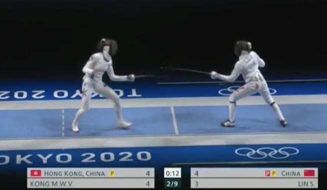 江旻憓緊接上陣,與中國隊的林聲交手,Vivian今局以4:3擊敗對手(圖片來源:OPEN TV截圖)
