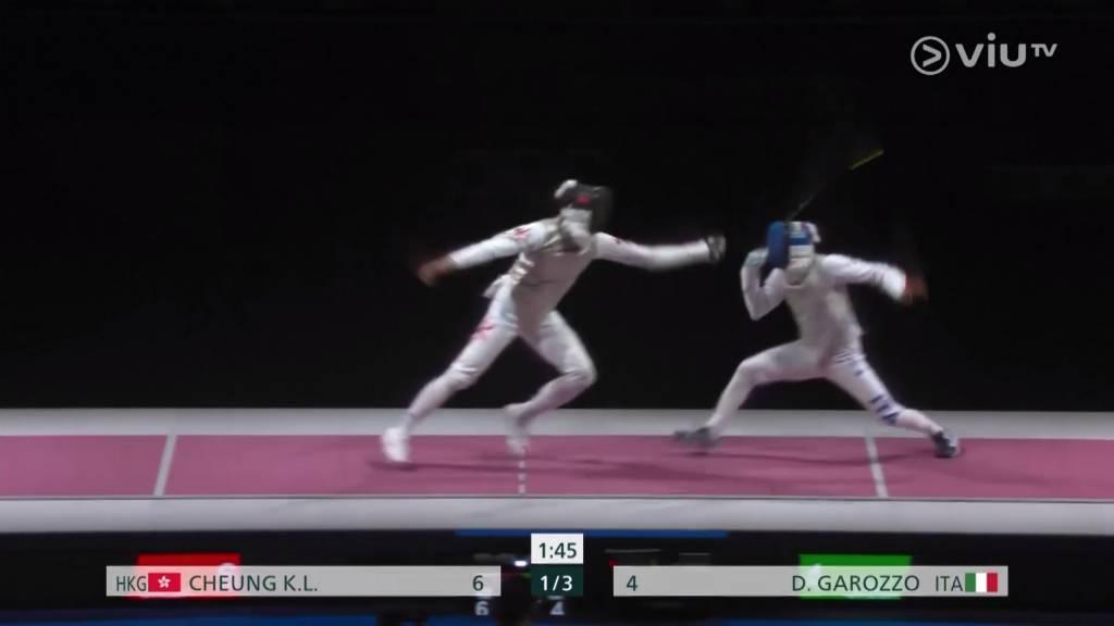 張家朗成功拿下金牌一幕!(圖片來源:ViuTV)