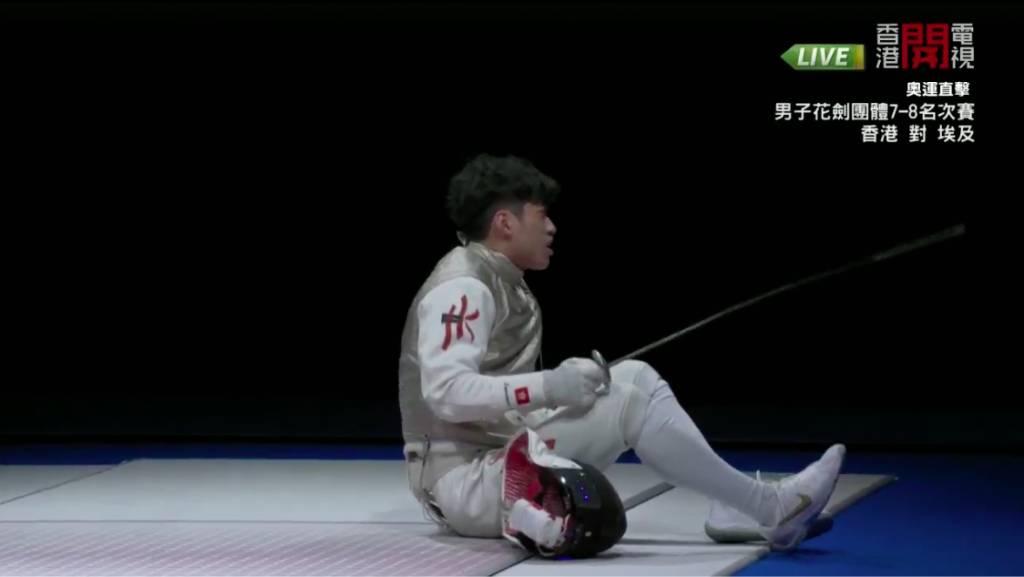 吳諾弘比賽途中抽筋,提出了「可唔可以要Medic」。(圖片來源:香港開電視)