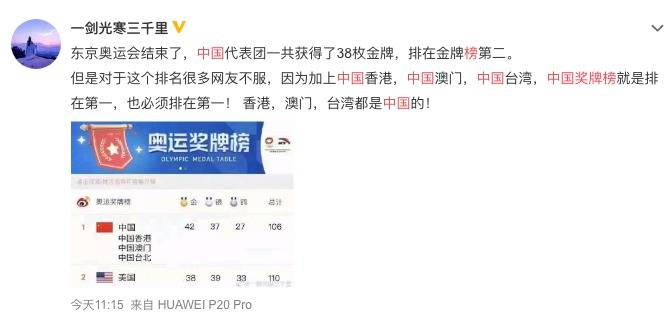 有網民激動表示:「中國獎牌榜就是排在第一,也必須排在第一」。(圖片來源:微博截圖)