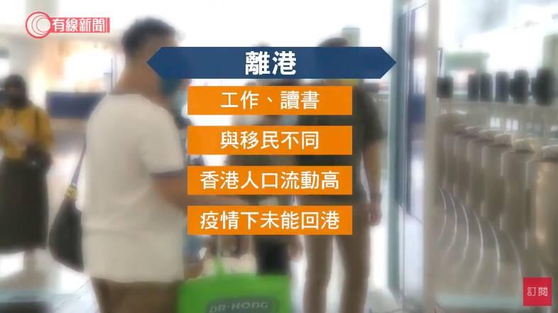 港府日前表示港人離港數量急增,惟並不代表移民潮湧現。(圖片來源:有線電視)